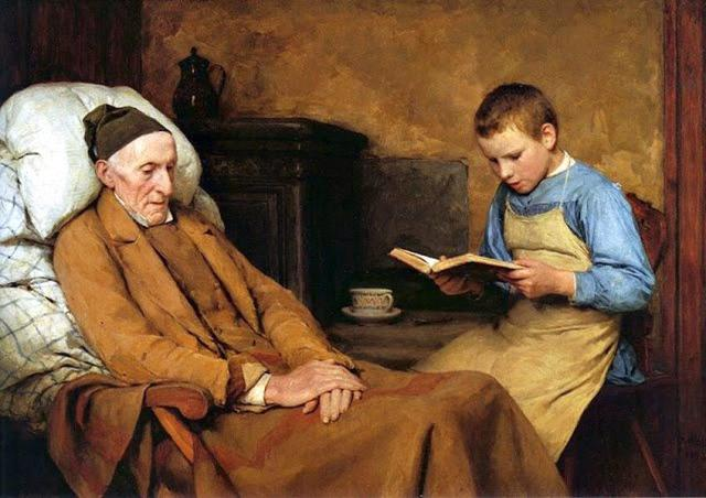 Albert Anker, La devozione al nonno, 1893