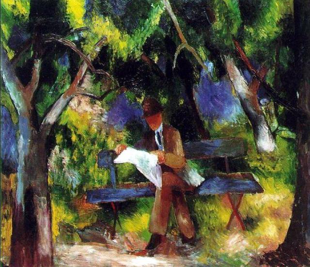 Auguste Macke, Uomo che legge al parco, 1914