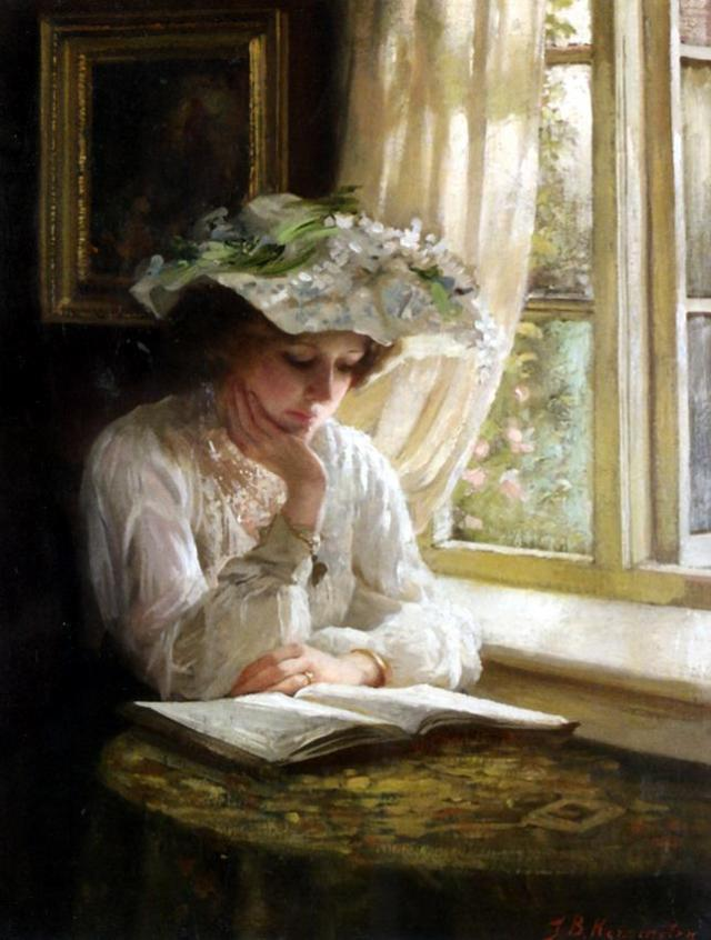 Benjamin T. Kenninghton (1856-1916) - Lady reading by a Window