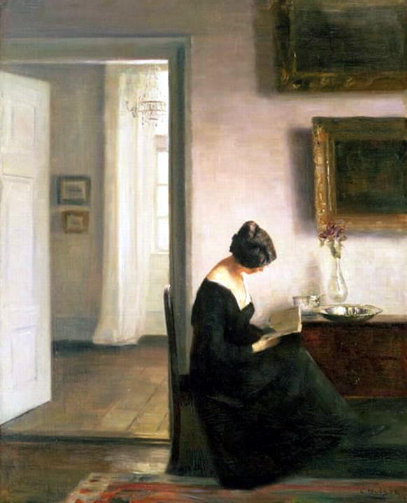 Carl Vilhelm Holsoe (1863-1935), Woman reading