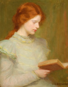 Eva D. Cowdery, Young Girl Reading a Book (date unknown)