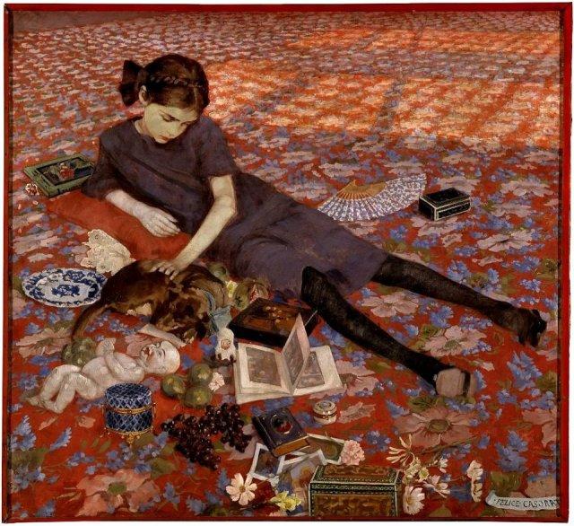 Felice CAsorati, Ragazza sul tappeto rosso (1912)