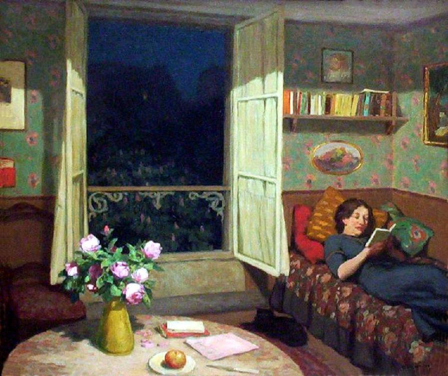 Frantisek Tavik Simon, Vilma reading on a Sofa, 1912