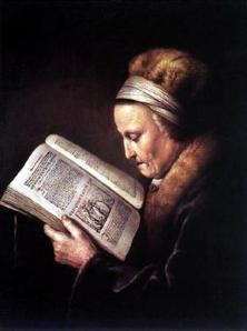 Gerrit Dou, Old Woman Readin a Bible, c. 1630