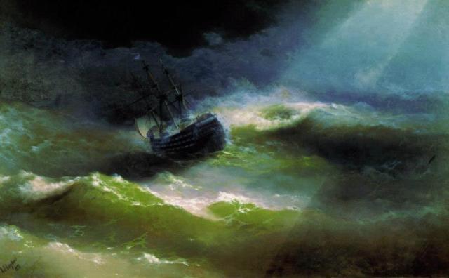 Ivan Konstantinovic Ajvazovskji, La nave 'Maria' nella tempesta (1892)