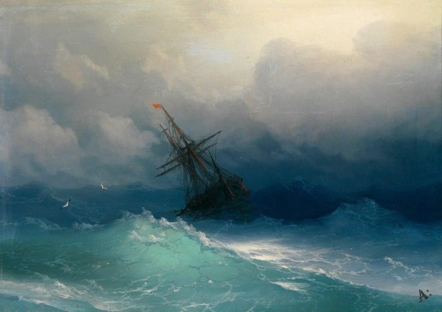 Ivan Konstantinovich Ajvazovskij, Ship in a Stormy Sea (1858)