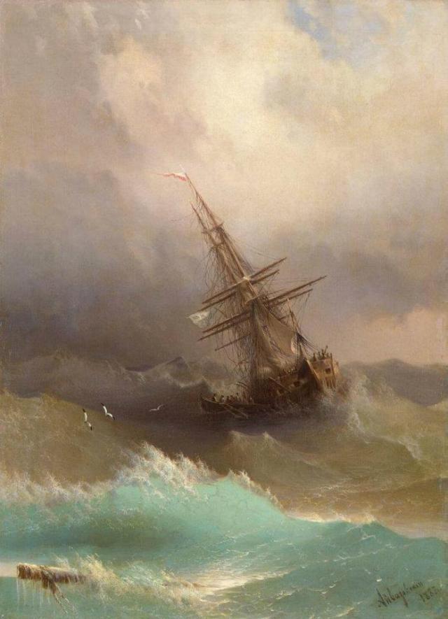 Ivan Konstantinovich Ajvazovskji, Nave in mezzo alla tempesta - Ship in the  Stormy sea  (1887)