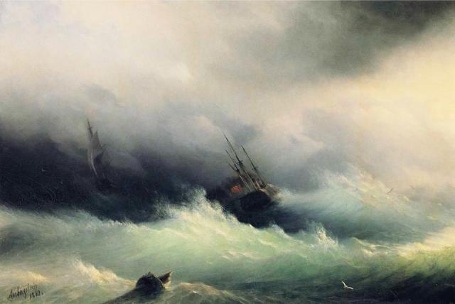 Ivan Konstantinovich Ajvazovskji, Ship in a Storm (1860)