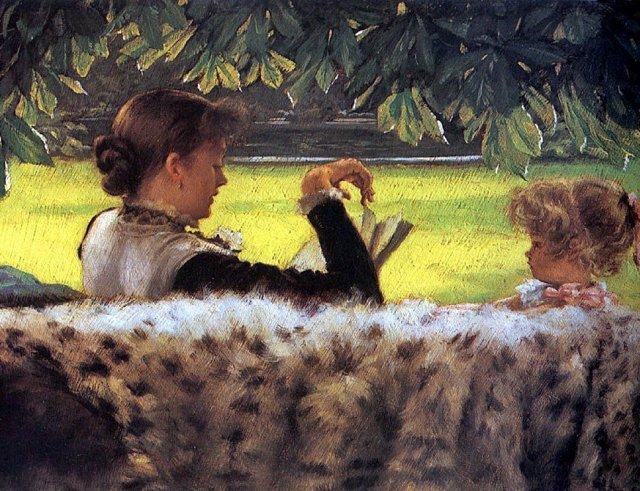 James Jacques Tissot, Reading a story, 1878