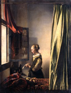 Jan Vermeer van Delft, Woman reading a letter at an open window,  1658 ca.