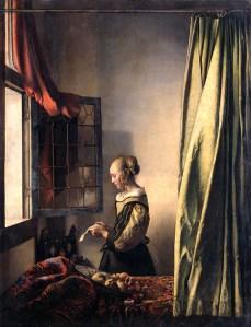 Jan Vermeer van Delft, Woman reading a letter at an open window,  1658 ca.