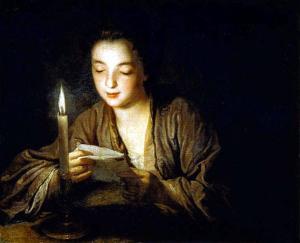 Jean-Baptiste Santerre (1658-1717), Jeune Fille Lisant une lettre à la bougie