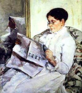 Mary Cassat, Reading Le Figaro, 1878