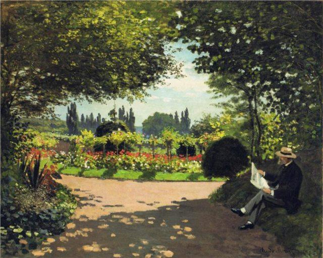 Monet, Adolphe Monet reading in the Garden, 1866