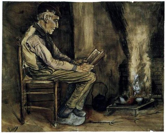 Van Gogh, Farmer sitting At Fireside, Reading (1881)