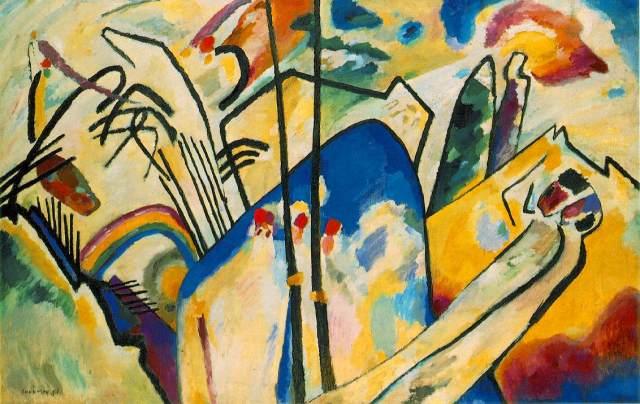 Vassilij Kandinskij, Composizione IV, 1911; Olio su tela, 159,5x250,5 - Kunstsammlung Nordrhein-Westfallen, Dusseldorf.
