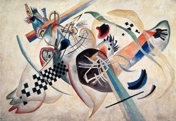 Vassilij Kandinskij, Composizione su bianco, 1918, olio su tela,  S. Pietroburgo, Museo di Stato Russo
