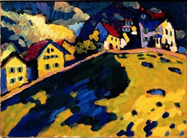 Vassilij Kandinskij, Marnau (Paesaggio d'estate) 1909, olio su cartone,  S. Pietroburgo, Museo di Stato Russo