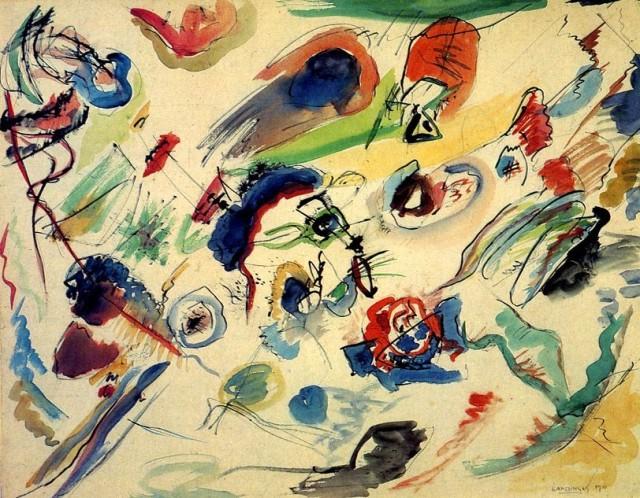 Vassilij kandinskij, Senza Titolo (primo acquerello astratto) (1910-13); matita, acquerello e inchiostro, 49,6x64,8 - Museo Nazionale d'arte Moderna, Centre Georges Pompidou, Paris