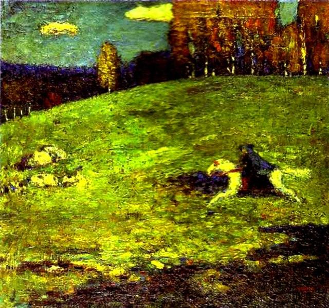 Vassilij Kandinsky, Il cavaliere azzurro, 1903; Olio su tela, 65x55 - Collezione Privata