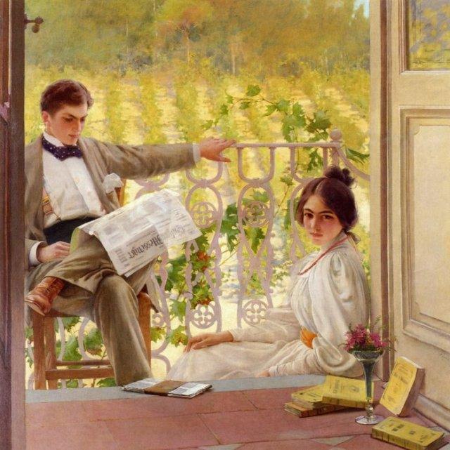 Vittorio Matteo Corcos (1859-1933) - Pomeriggio in terrazza
