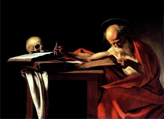 Caravaggio, Michelangelo Merisi , San Girolamo scrivente, (1605-1606) 112 cm × 157 cm - Galleria Borghese, Roma