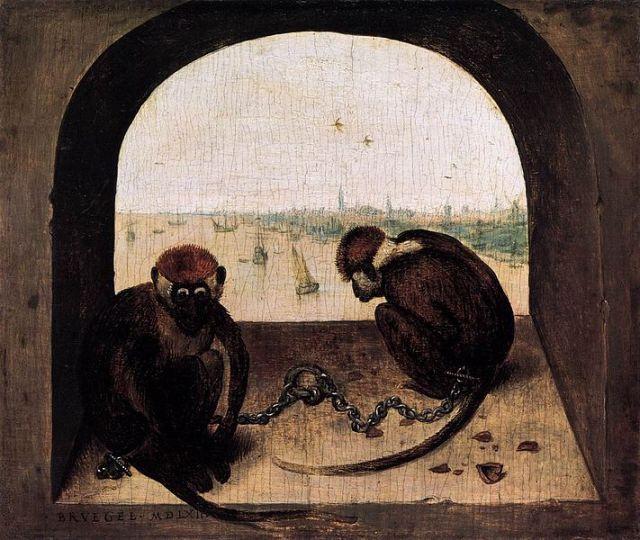 Pieter Bruegel the Elder - Two Chained Monkeys (1562) Gemäldegalerie, Berlino