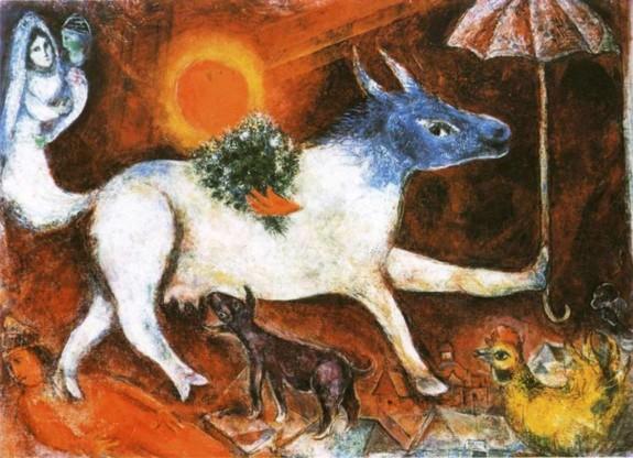 Marc Chagall - Vacca con parasole, 1946