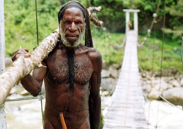 Uomo della tribu' Yali nella valle di Papua.
